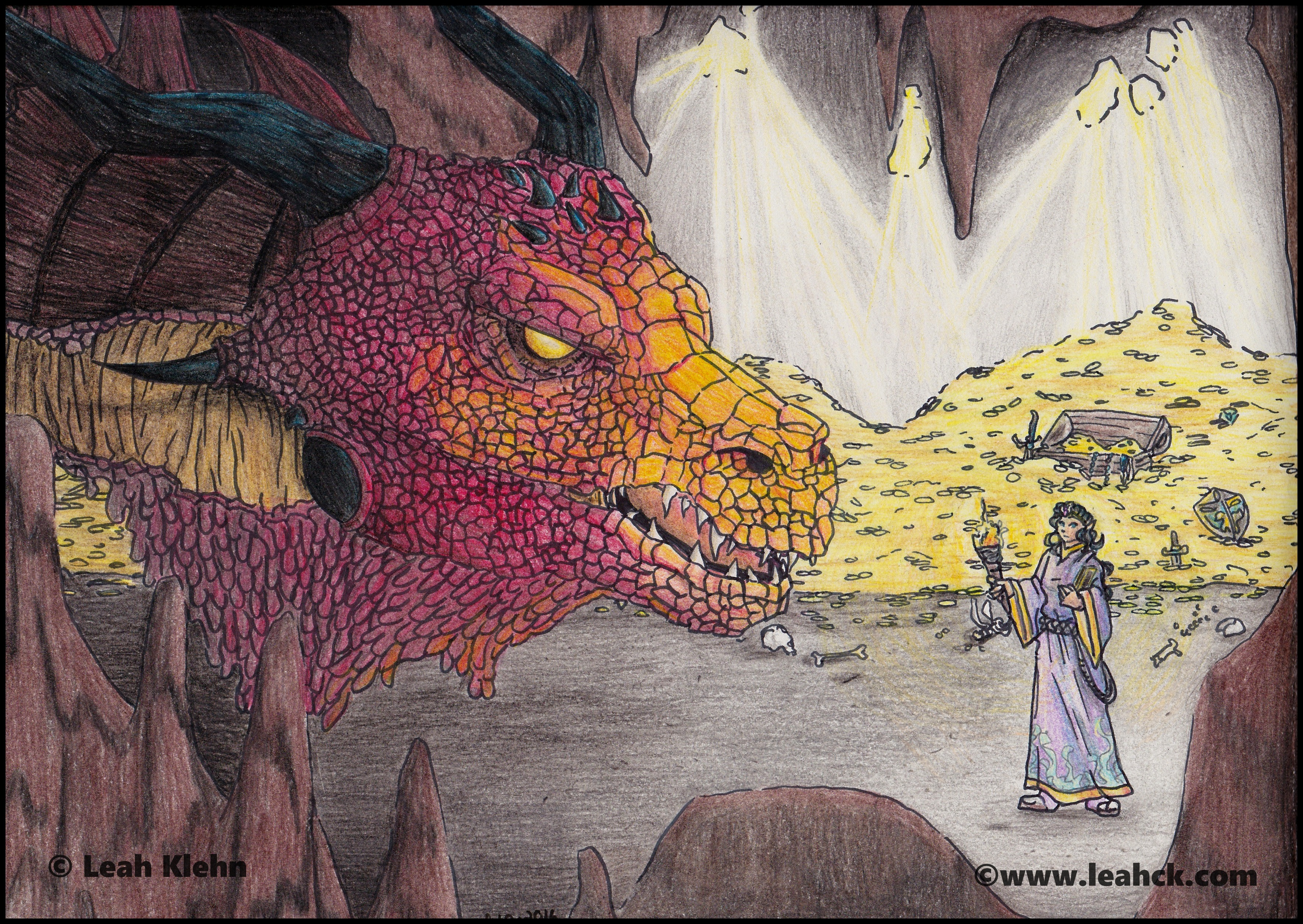 "Colored Gold Dragon ""The Meeting"""